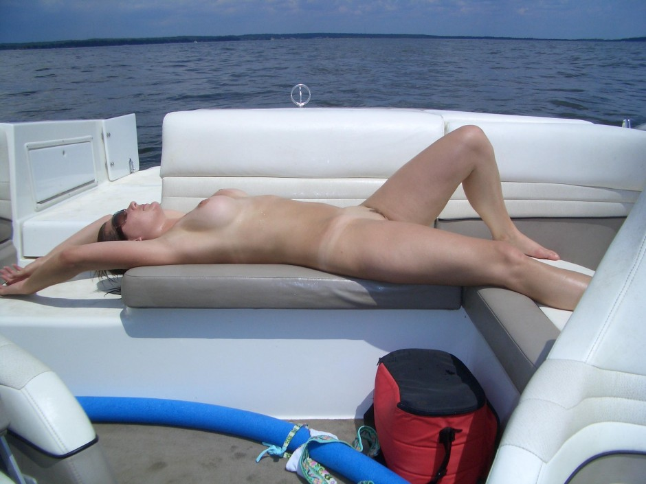 My hot wife naked on boat