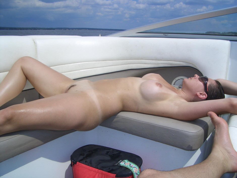 Wife nude on boat