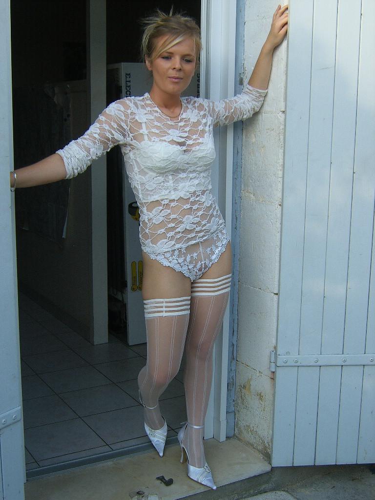 Stockings amateur blonde white lingerie