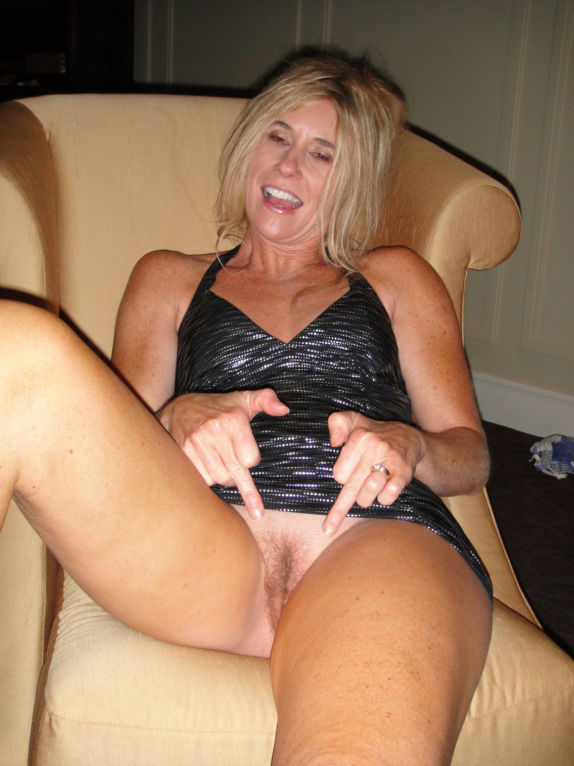 Blonde muff hairy mature