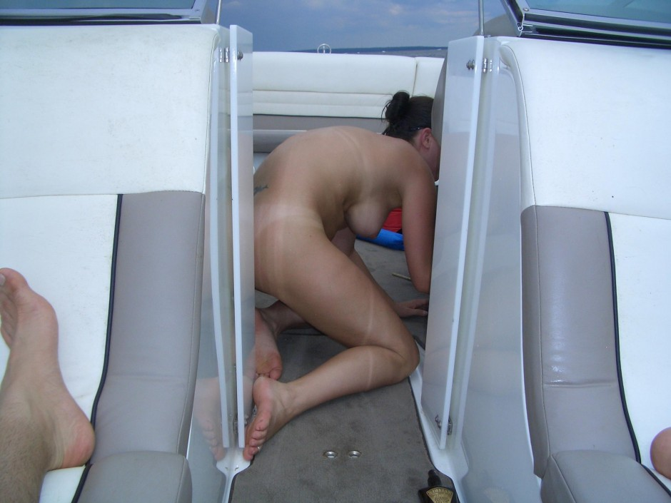 Wife and friend nude on boat